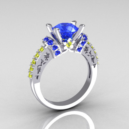 Modern Armenian Classic 10K White Gold 1.5 Carat Blue and Yellow Sapphire Solitaire Wedding Ring R137-10WGBYS-1