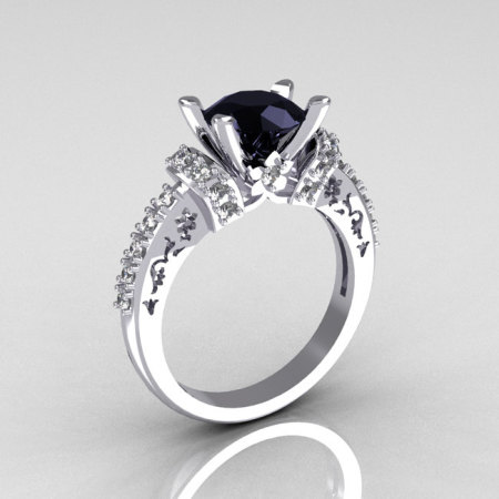 Modern Armenian Classic 14K White Gold 1.5 Carat Black and White Diamond Solitaire Wedding Ring R137-14WGDBL-1