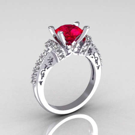 Modern Armenian Classic 10K White Gold 1.5 Carat Ruby Diamond Solitaire Wedding Ring R137-10WGDRR-1
