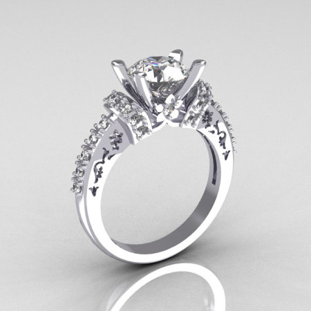 Modern Armenian Classic 14K White Gold 1.5 Carat White Sapphire Diamond Solitaire Wedding Ring R137-14WGDWS-1