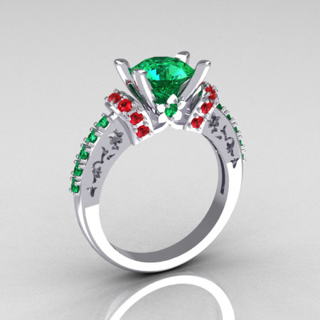 Modern Armenian Classic 10K White Gold 1.5 Carat Emerald and Ruby Solitaire Wedding Ring R137-10WGEMRR-1