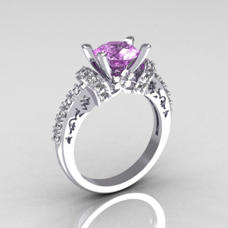 Modern Armenian Classic 18K White Gold 1.5 Carat Lilac Amethyst Diamond Solitaire Wedding Ring R137-18WGDLA-1