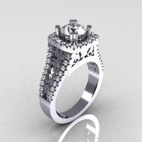Modern Armenian Vintage 14K White Gold 1.0 Carat Zircon Diamond Engagement Ring R137-14WGDCZ-1
