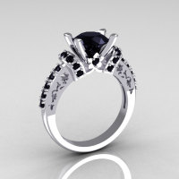Modern Armenian Classic 10K White Gold 1.5 Carat Black Diamond Wedding Ring R137-10WGBLL-1