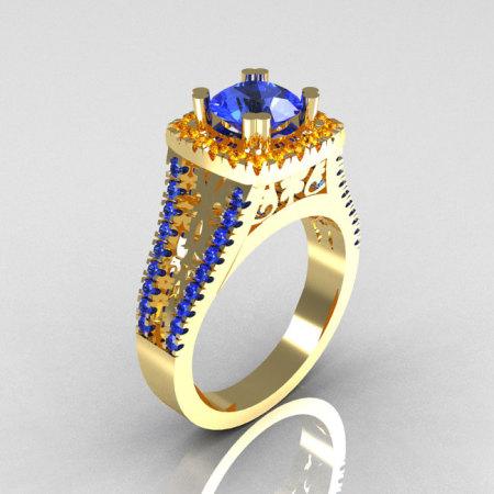 Modern Armenian Vintage 18K Yellow Gold 1.0 Carat Blue Sapphire Citrine Engagement Ring R137-18YGBSCI-1