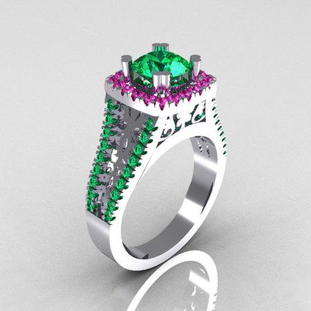 Modern Armenian Vintage 14K White Gold 1.0 Carat Emerald Pink Sapphire Engagement Ring R137-14WGEMPS-1