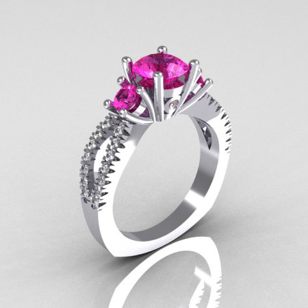 Modern French Bridal 14K White Gold Three Stone 1.0 Carat Pink Sapphire Accent White Diamond Engagement Ring R140-14WGDPS-1