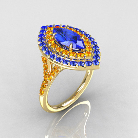 Soleste Style Bridal 14K Yellow Gold 1.0 Carat Marquise Blue Diamond Citrine Engagement Ring R117-14YGBDCI-1