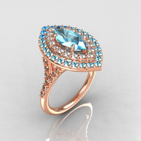 Soleste Style Bridal 18K Rose Gold 1.0 Carat Marquise Aquamarine Diamond Engagement Ring R117-18RGDAQQ-1