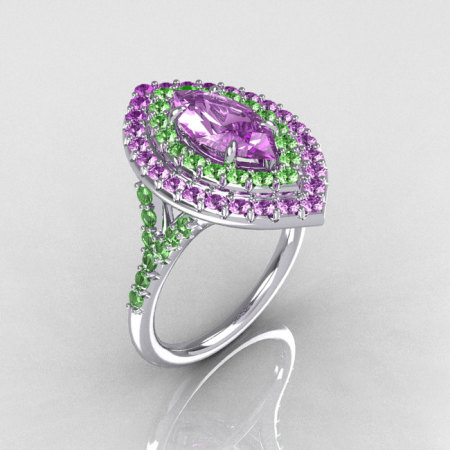 Soleste Style Bridal 10K White Gold 1.0 Carat Marquise Lilac and Green Amethyst Engagement Ring R117-10WGGALA-1