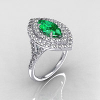 Soleste Style Bridal 14K White Gold 1.0 Carat Marquise Emerald Diamond Engagement Ring R117-14WGDEM-1
