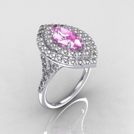 Soleste Style Bridal 10K White Gold 1.0 Carat Marquise Light Pink Sapphire Diamond Engagement Ring R117-10WGDLPS-1