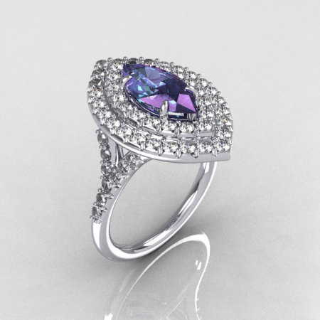 Soleste Style Bridal 10K White Gold 1.0 Carat Marquise Alexandrite Diamond Engagement Ring R117-10WGDAL-1