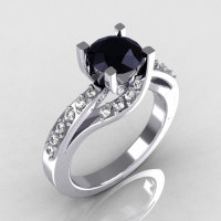 Modern Bridal 950 Platinum 1.0 Carat Black Diamond Solitaire Ring R145-PLATDBD-1
