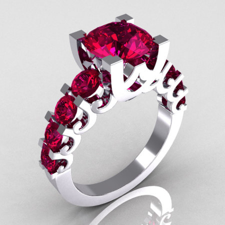 Modern Vintage 14K White Gold 2.0 Carat Rhodolite Garnet Designer Wedding Ring R142-14WGRRG-1