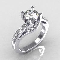Modern Bridal 950 Platinum 1.0 Carat CZ Diamond Solitaire Ring R145-PLATDCZ-1