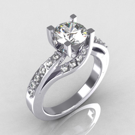Modern Bridal 950 Platinum 1.0 Carat CZ Diamond Solitaire Ring R145-PLATDCZ-1