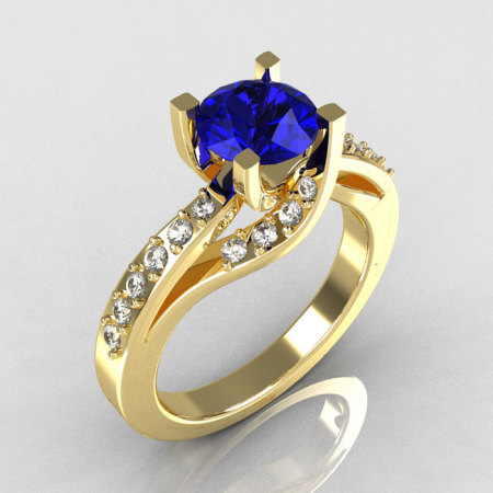 Modern Bridal 14K Yellow Gold 1.0 Carat Blue Sapphire Diamond Solitaire Ring R145-14YGDBS-1