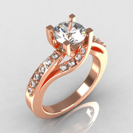 Modern Bridal 14K Rose Gold 1.0 Carat CZ Diamond Solitaire Ring R145-14KRGDCZ-1
