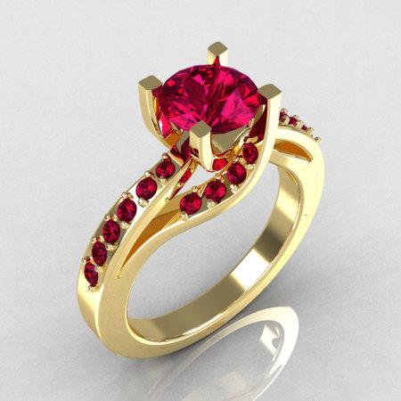 Modern Bridal 10K Yellow Gold 1.0 Carat Rhodolite Garnet Solitaire Ring R145-10YGRRG-1