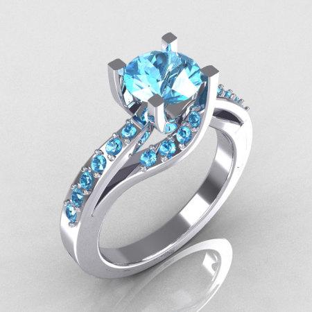 Modern Bridal 18K White Gold 1.0 Carat Aquamarine Solitaire Ring R145-18WGAQ-1