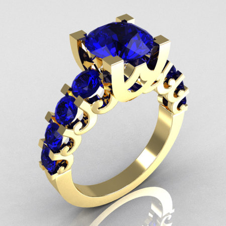 Modern Vintage 10K Yellow Gold 2.0 Carat Blue Sapphire Designer Wedding Ring R142-10YGBSS-1