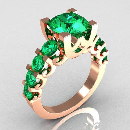Modern Vintage 14K Pink Gold 2.0 Carat Emerald Designer Wedding Ring R142-14PGEMM-1