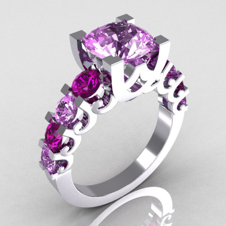 Modern Vintage 10K White Gold 2.0 Carat Lilac and Lavender Amethyst Cocktail Wedding Ring R142-10WGLAMLAM-1