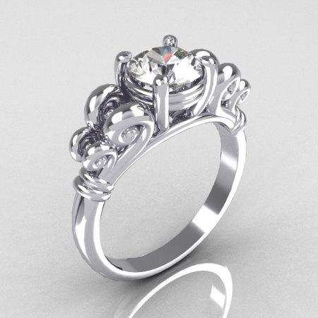 Modern Antique 10K White Gold 1.0 Carat Round White Sapphire Designer Solitaire Ring R141-10WGWS-1