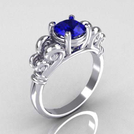 Modern Antique 10K White Gold 1.0 Carat Round Blue Sapphire Designer Solitaire Ring R141-10WGBS-1