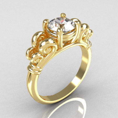 Modern Antique 10K Yellow Gold 1.0 Carat Round White Sapphire Designer Solitaire Ring R141-10YGWS-1