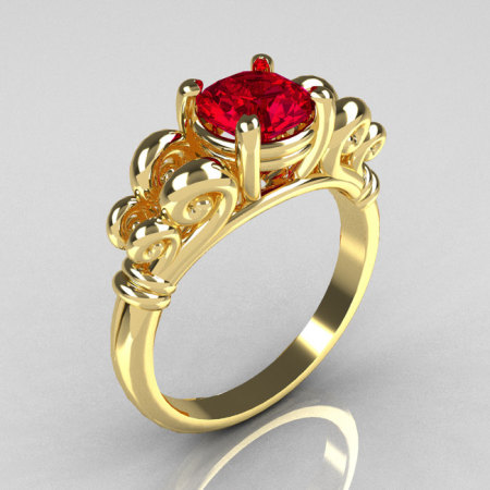 Modern Antique 18K Yellow Gold 1.0 Carat Round Red Ruby Designer Solitaire Ring R141-18YGRR-1
