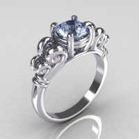 Modern Antique 10K White Gold 1.0 Carat Round Blue Topaz Designer Solitaire Ring R141-10WGBT-1