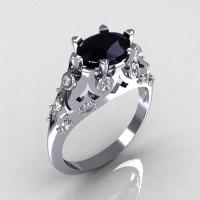 Modern Edwardian 14K White Gold 1.0 Carat Oval Black Diamond Bridal Ring R147-14WGDBD-1