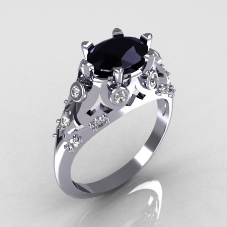 Modern Edwardian 14K White Gold 1.0 Carat Oval Black Diamond Bridal Ring R147-14WGDBD-1