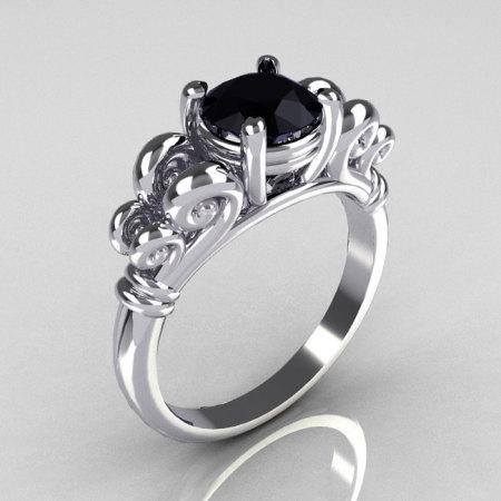Modern Antique 14K White Gold 1.0 Carat Round Black Diamond Designer Solitaire Ring R141-14WGBD-1
