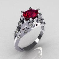 Modern Edwardian 14K White Gold 1.0 Carat Oval Rhodolite Garnet Diamond Bridal Ring R147-14WGDRG-1