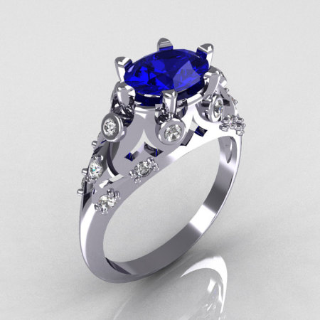 Modern Edwardian 18K White Gold 1.0 Carat Oval Blue Sapphire Bridal Ring R147-18WGDBS-1
