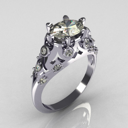 Modern Edwardian 10K White Gold 1.0 Carat Oval White Sapphire Bridal Ring R147-10WGDWS-1