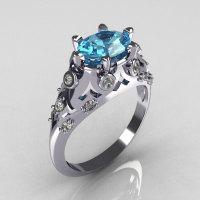 Modern Edwardian 10K White Gold 1.0 Carat Oval Aquamarine Bridal Ring R147-10WGDAQ-1