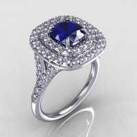 Soleste Style 14K White Gold 1.25 Carat Cushion Blue Sapphire Diamond Engagement Ring R116-14WGDBS-1