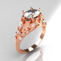 Modern Edwardian 10K Rose Gold 1.0 Carat Oval White Sapphire Bridal Ring R147-10RGDWS-1