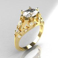 Modern Edwardian 10K Yellow Gold 1.0 Carat Oval White Sapphire Bridal Ring R147-10YGDWS-1
