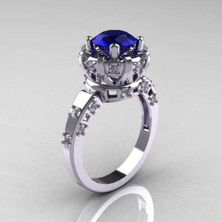 Modern Antique 14K White Gold 1.5 Carat Blue Sapphire Diamond Classic Armenian Solitaire Wedding Ring AR107-14KWGDBS-1
