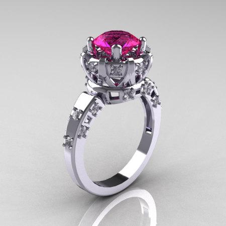 Modern Antique 14K White Gold 1.5 Carat Pink Sapphire Diamond Classic Armenian Solitaire Wedding Ring AR107-14KWGDPS-1