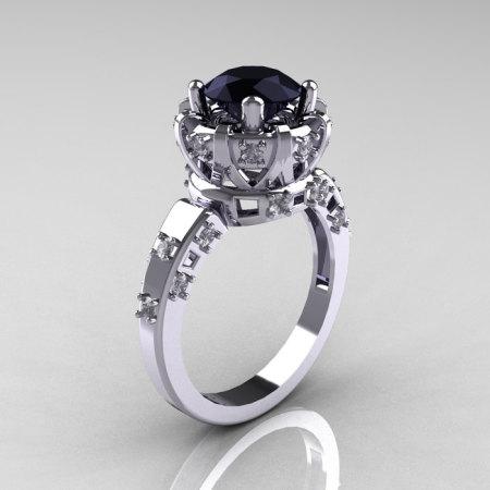 Modern Antique 10K White Gold 1.5 Carat Black Diamond Classic Armenian Solitaire Wedding Ring AR107-10KWGBDD-1