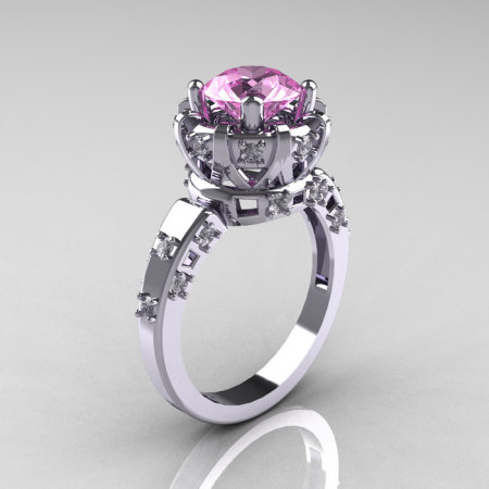 Modern Antique 14K White Gold 1.5 Carat Light Pink Sapphire Diamond Classic Armenian Solitaire Wedding Ring AR107-14KWGDLPS-1