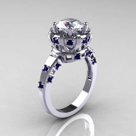 Modern Antique 14K White Gold 1.5 Carat CZ Blue Sapphire Classic Armenian Solitaire Wedding Ring AR107-14KWGBSCZ-1