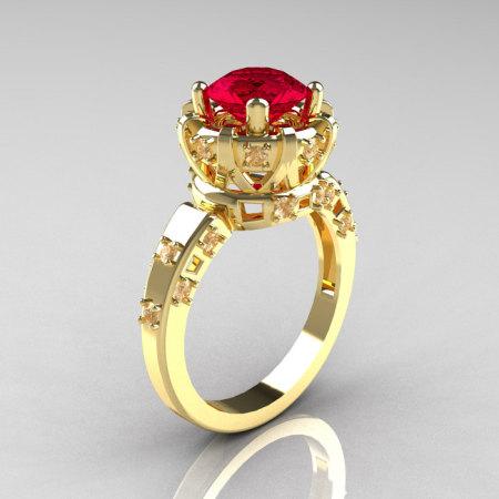 Modern Antique 10K Yellow Gold 1.5 Carat Ruby Diamond Classic Armenian Solitaire Wedding Ring AR107-10KYGDR-1