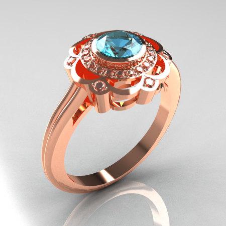 Classic 14K Rose Gold Diamond Aquamarine Bridal Ring R70-14KRGDAQ-1